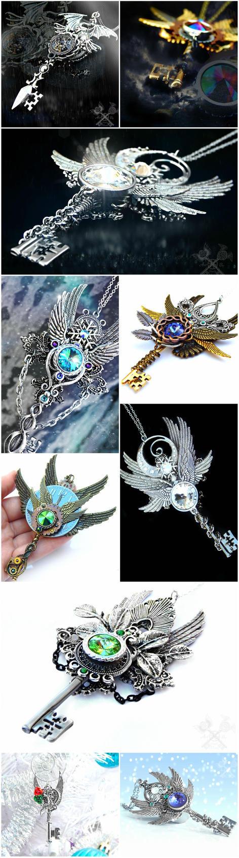 Skeleton Key Necklaces Galore! by ArtByStarlaMoore