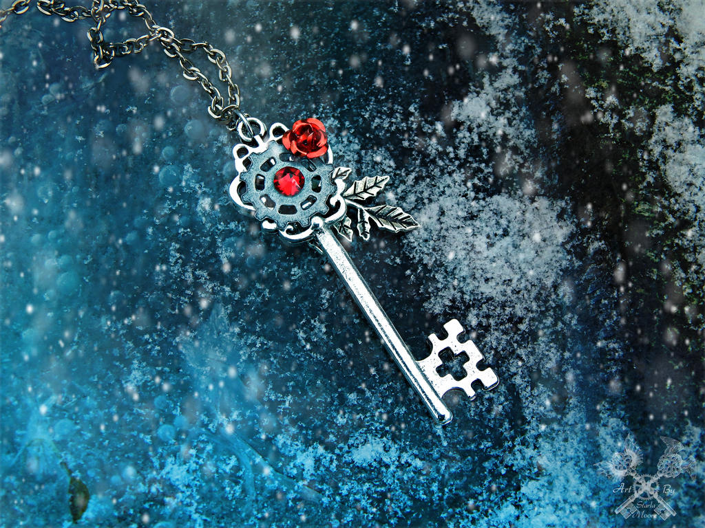 Win this Skeleton Key Necklace this month! by ArtByStarlaMoore