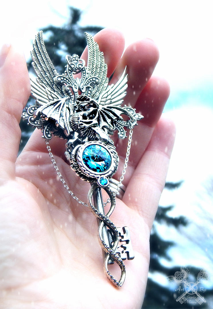 King of Frost Dragon Skeleton Key Necklace by ArtByStarlaMoore