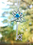 Sparkly Dragonfly Skeleton Key Necklace