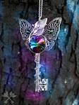 Aurora Butterfly Skeleton Key Necklace