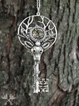 Forest Spirit Skeleton Key Necklace