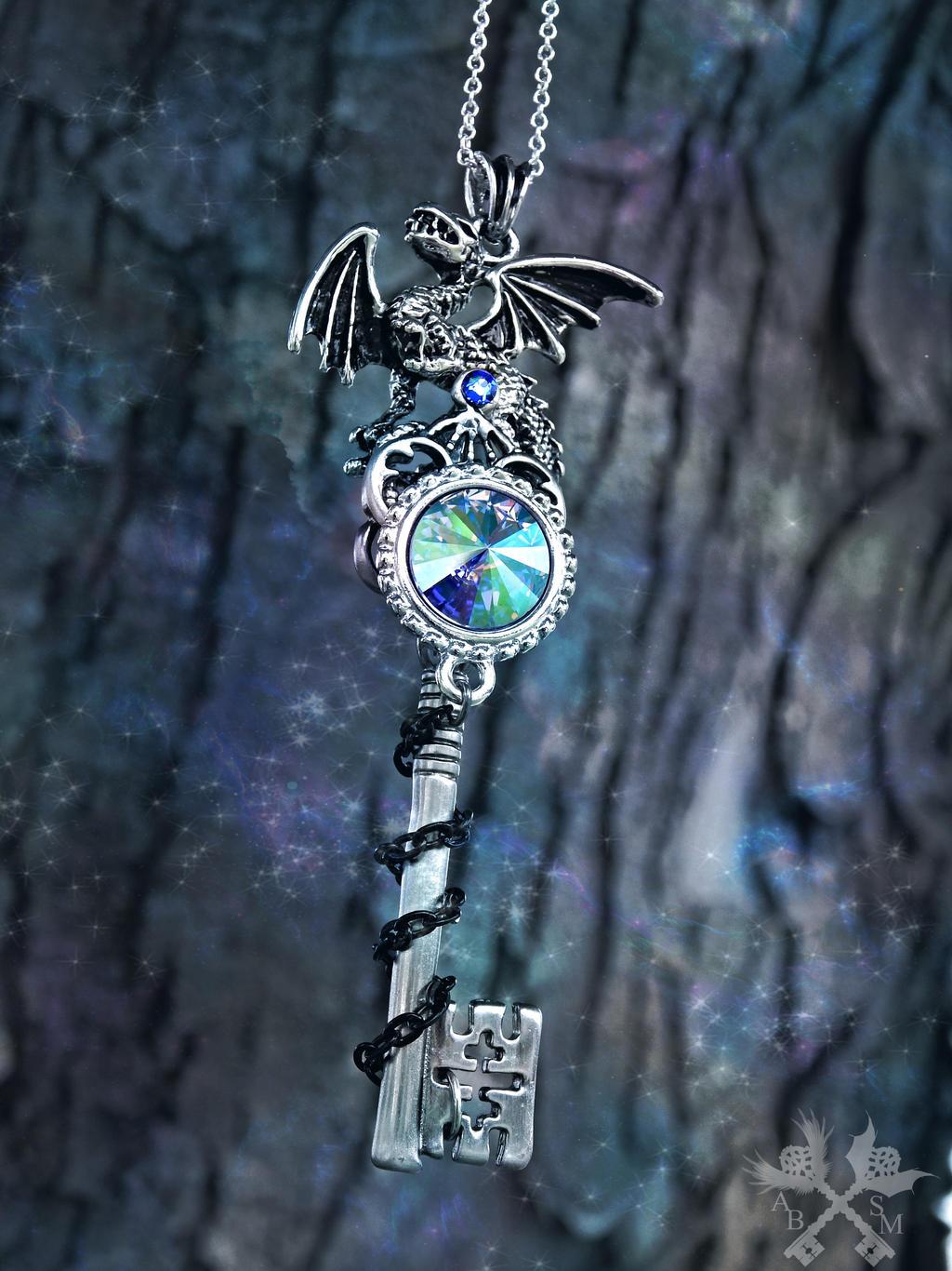 Ice Hatchling Fantasy Key Necklace