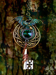 Celtic Dragon Fantasy Key Necklace