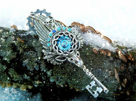 Frosty Patronus Skeleton Key Necklace by ArtByStarlaMoore