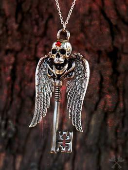 Fallen Angel Skeleton Key Necklace