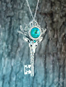 Ice Guardian Skeleton Key Necklace