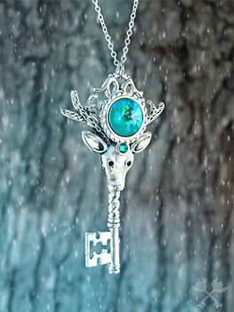 Ice Guardian Skeleton Key Necklace
