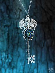 Druzy Dragon Skeleton Key Necklace