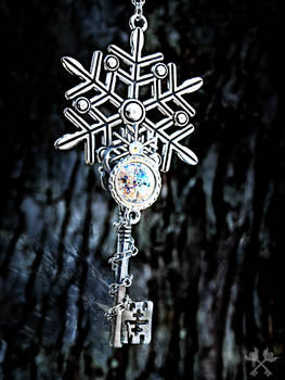 Frosted Wonderland Skeleton Key Necklace