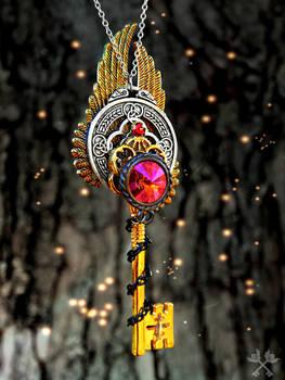 Astral Phoenix Skeleton Key Necklace