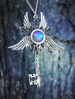 Opal Electra Skeleton Key Necklace