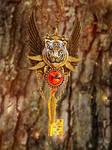 Tiger's Blood Skeleton Key Necklace