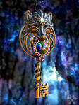 Galaxy Alpha Wolf Skeleton Key Necklace