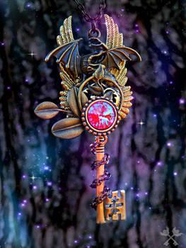 Mercury Dragon Skeleton Key Necklace