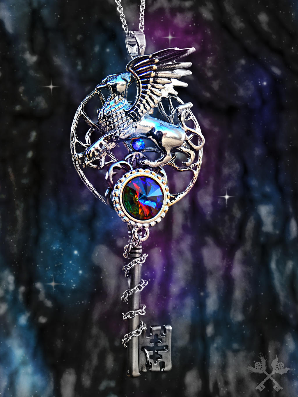 Griffon Heart Skeleton Key Necklace