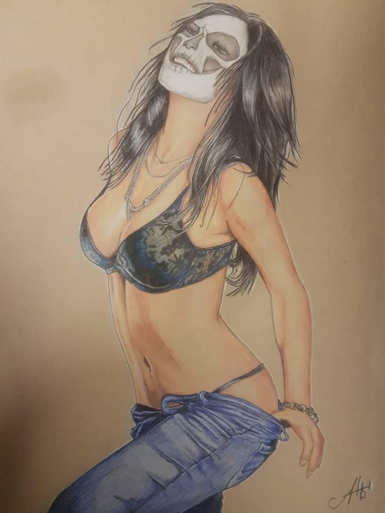 Draw Pencil Woman Body Art Skullface By Erzteufelalbi On Deviantart