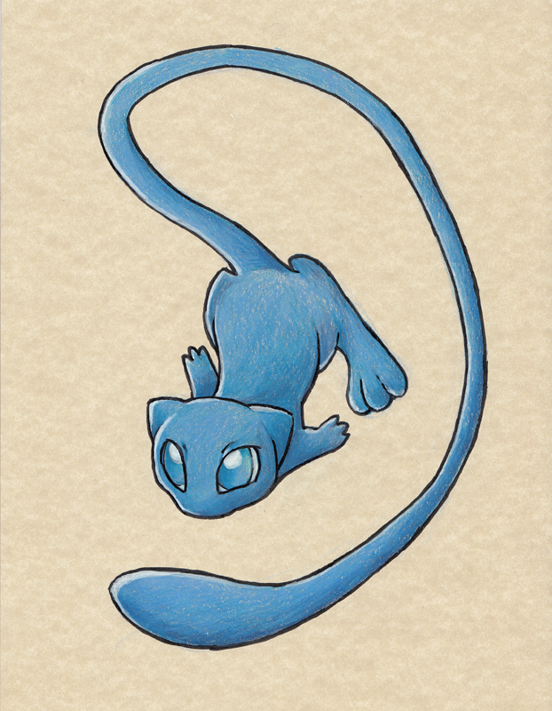 Commission: Shiny Mew WIP by the19thGinny