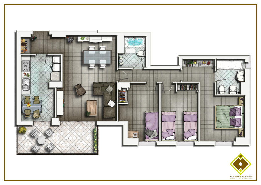 Floor plan 2d by talens3d on deviantart for Apartment 2d plans