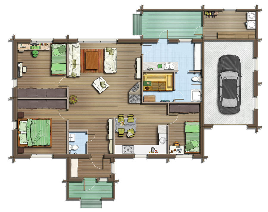 Floor plan 2d by talens3d on deviantart for Watercolor house plans
