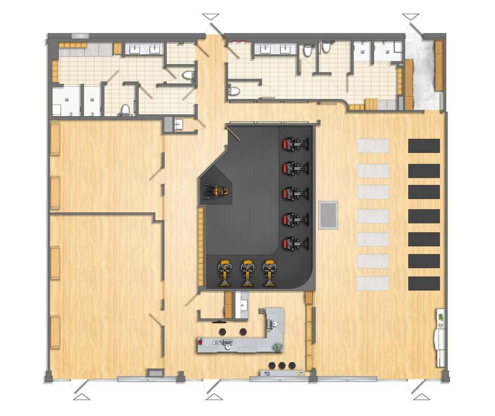 Gym Plans Floor Plan: Floor Plan Fitness Center 2D Colored. By TALENS3D On