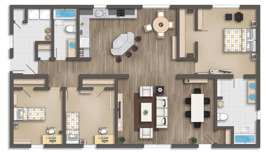 Floor plan rendering by talens3d on deviantart for Rendered floor plan