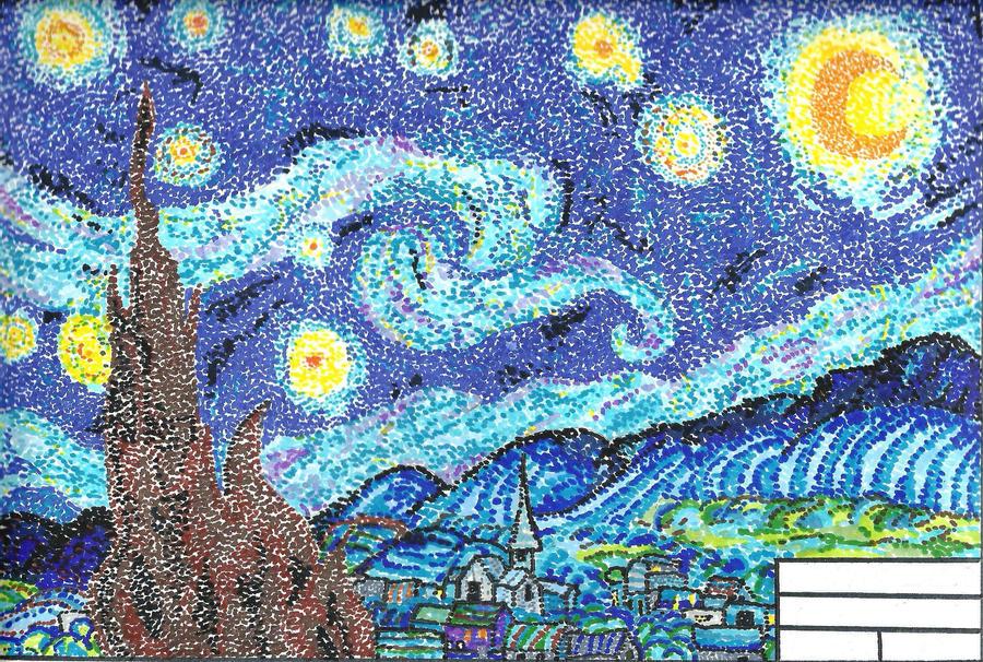 pointillism starry night by mahoujirou on deviantart