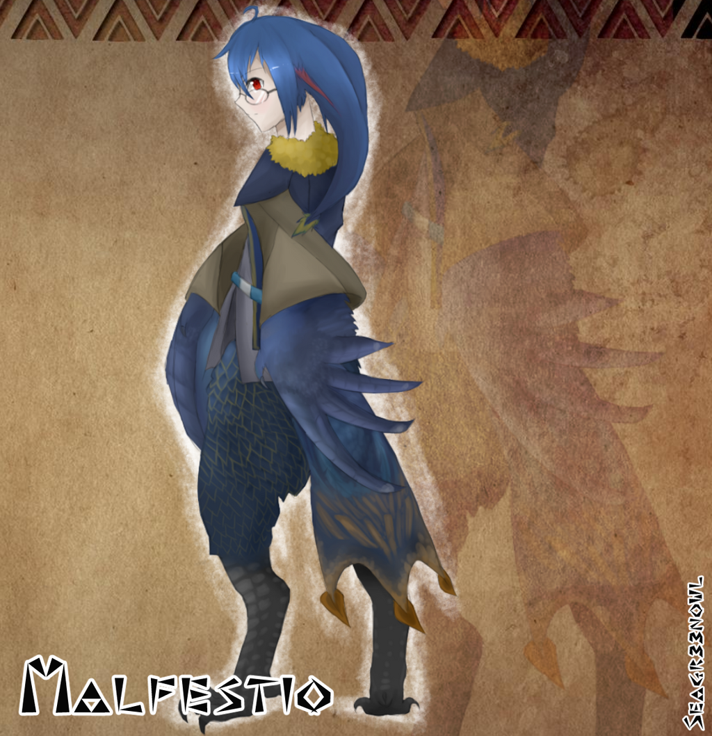 monmusu x monster hunter malfestio by seagr33nowl on