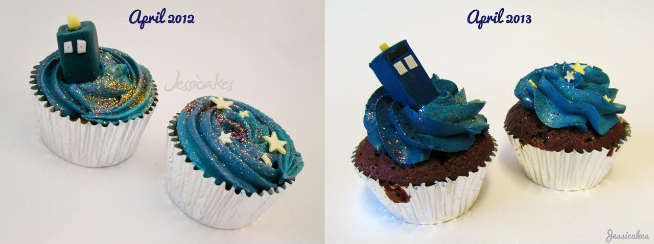 TARDIS cupcake comparison by thesearejessicakes