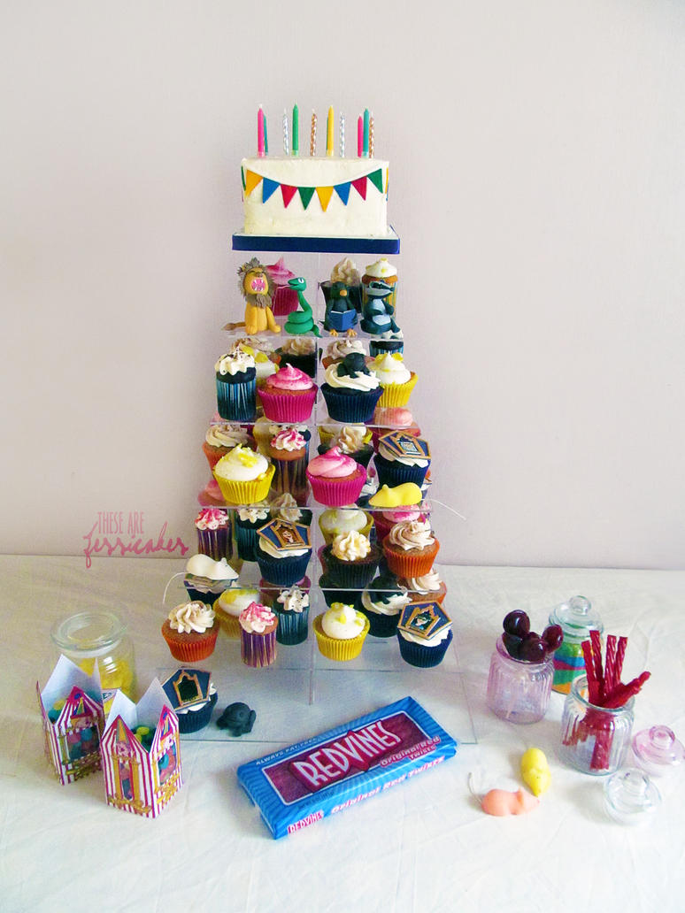 Honeydukes cupcake display by thesearejessicakes