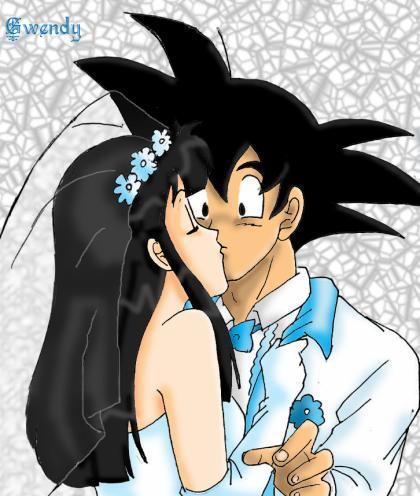 Goku and Chichi: Wedding Kiss by gwendy85 on DeviantArt