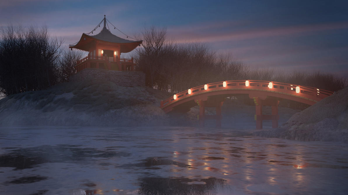 Bentendo- japanese buddhist temple, winter version by blenderjackangel