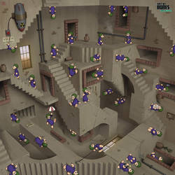 Lemmings vs Escher by ArtbyBones