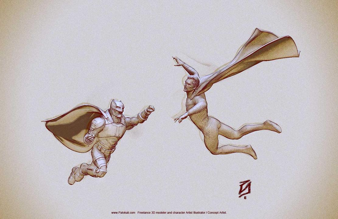 Batman v Superman fight by patokali