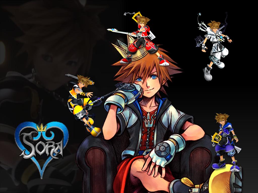 kingdom hearts sora wallpaper 2 black background by