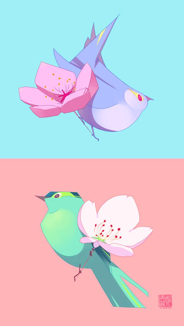 Sakura and Fat Birds by liea