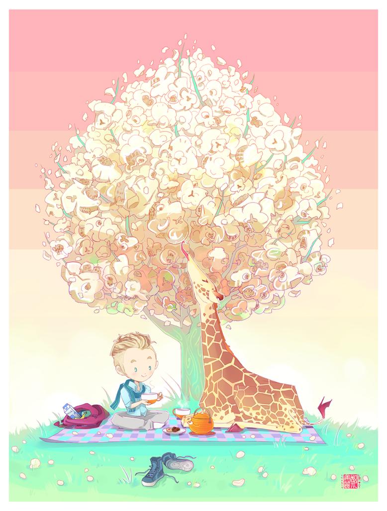 Boy and Giraffe by liea