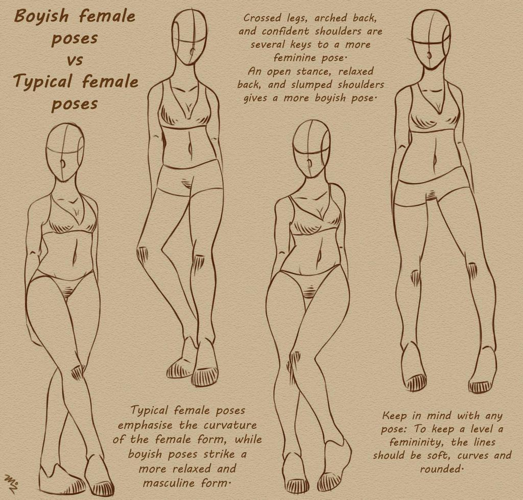 Boyish Female Poses Vs Typical Female Poses by MizMaxter on DeviantArt