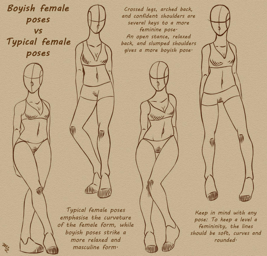 Boyish Female Poses Vs Typical Female Poses by MizMaxter