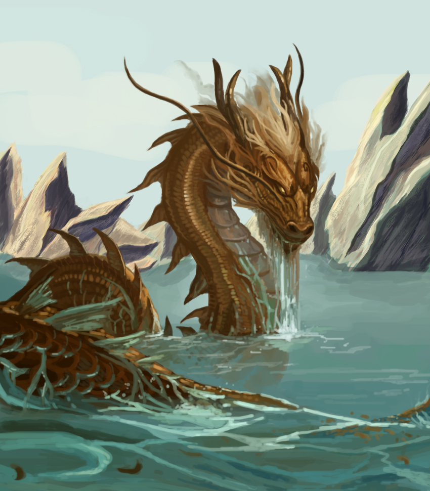 River dragon c sandara by shufet on deviantart for Japanese dragon painting