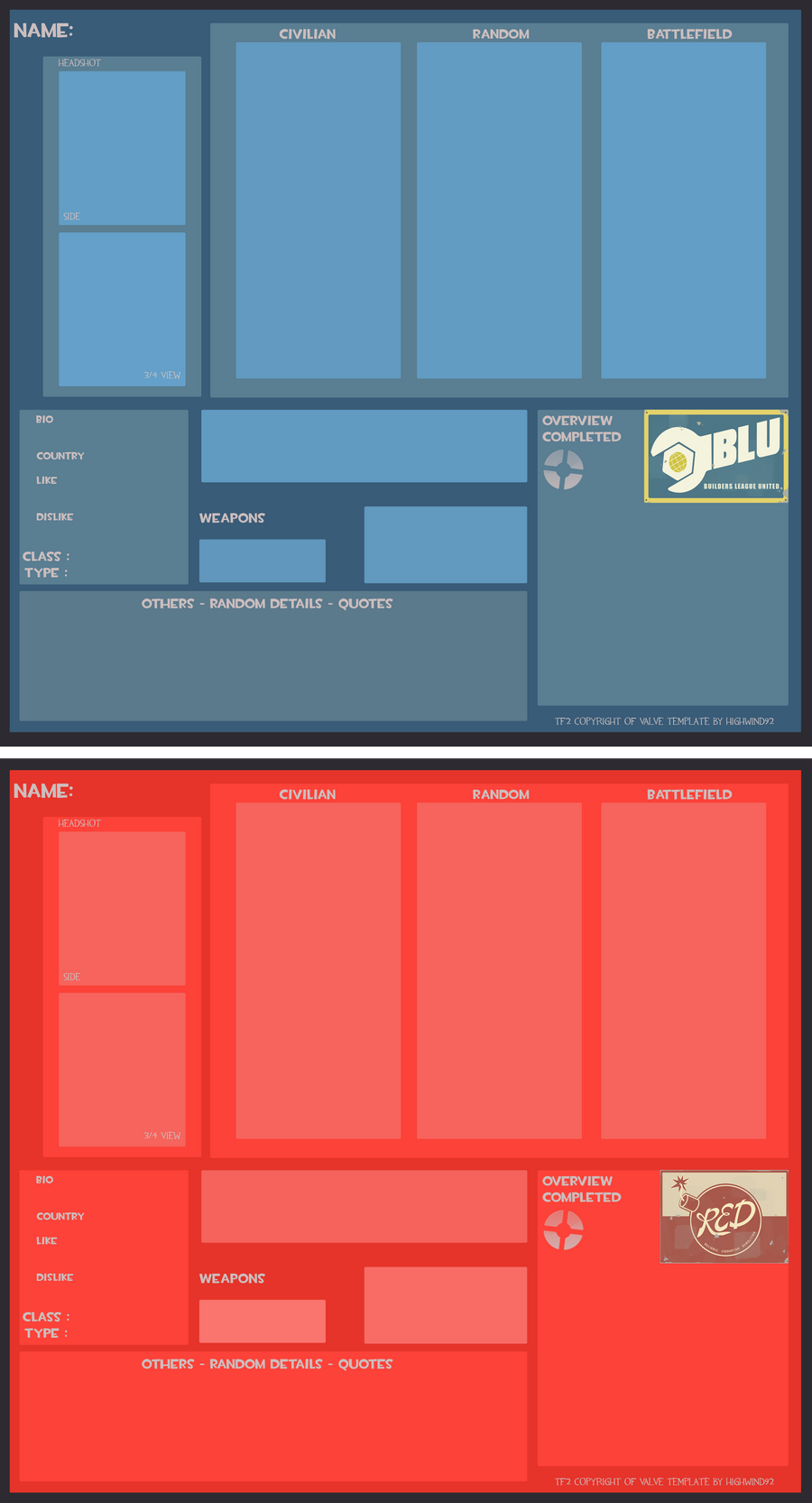 TF2 OC- Template RED-BLU by MyriWind