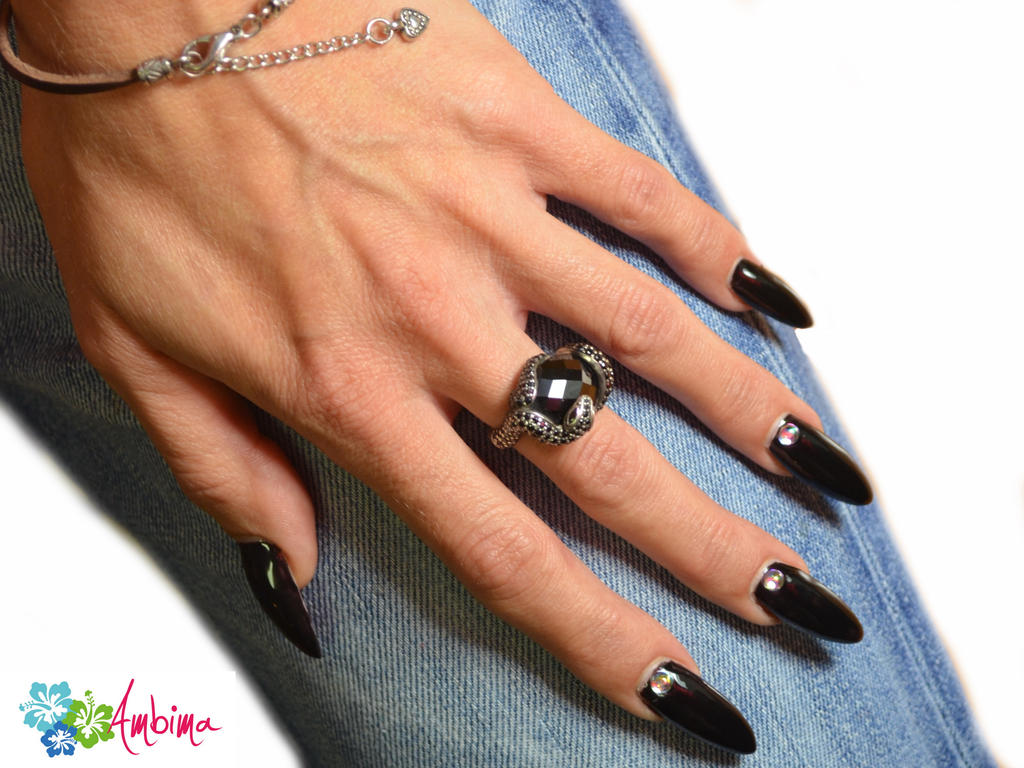Black Almond Nails by Ambima on DeviantArt