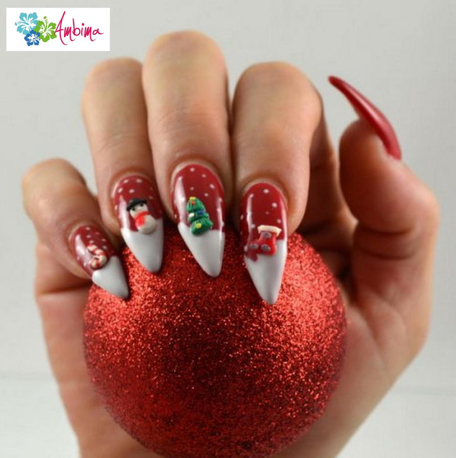 Christmas 3D Stiletto Nails By Ambima On DeviantArt
