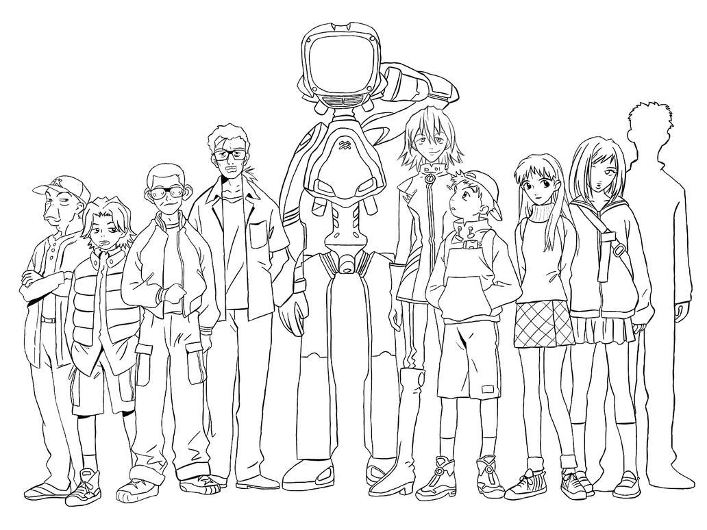 Line Art Group : Flcl group line art by cleverasinine on deviantart