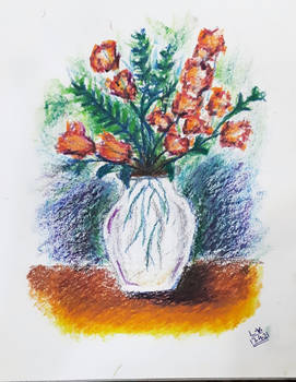 Oil Pastel art vase :)