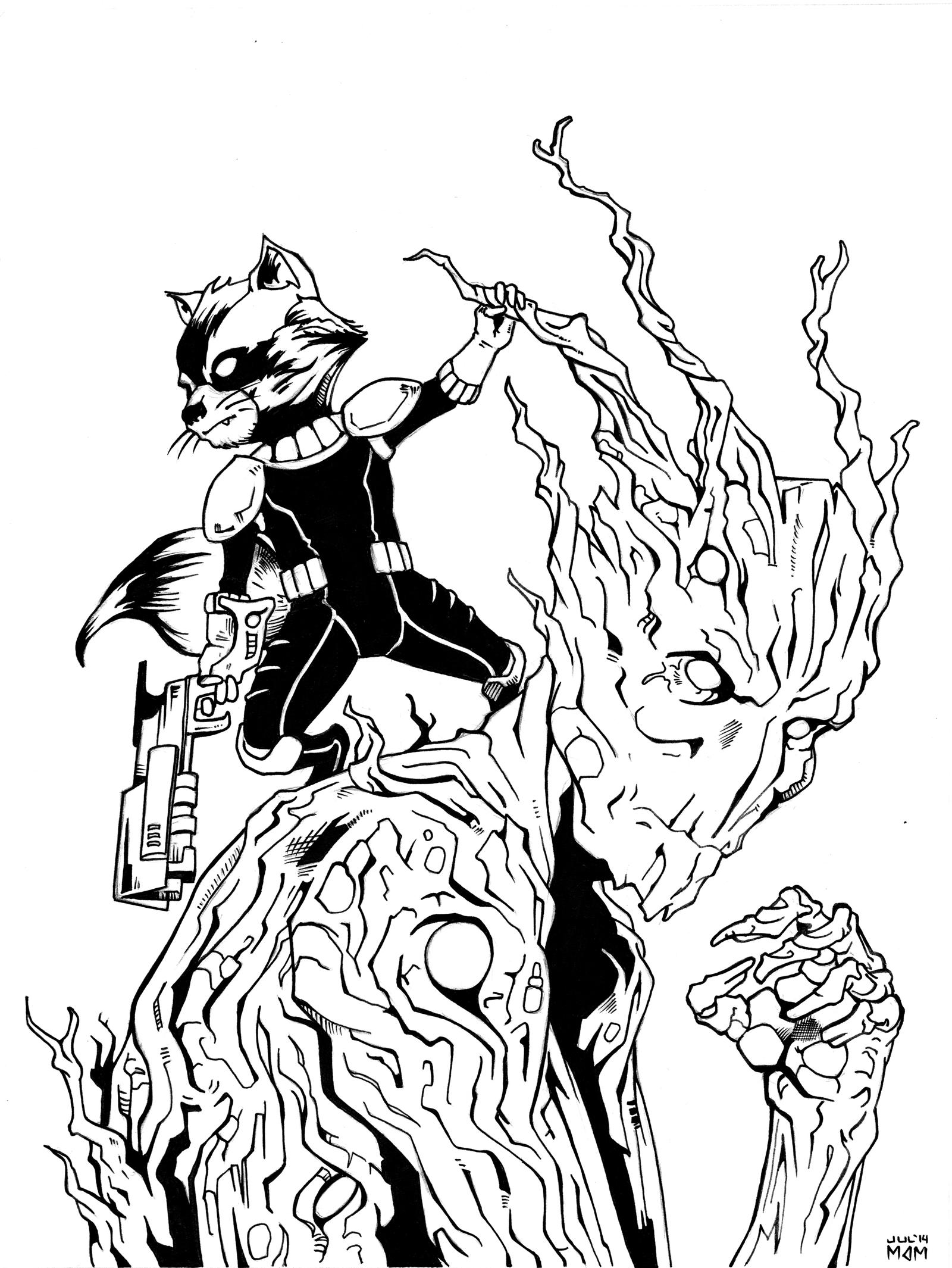 Star Lord And Rocket Raccoon By Timothygreenii On Deviantart: Rocket Raccoon And Groot Inks By Mdm10 On DeviantArt