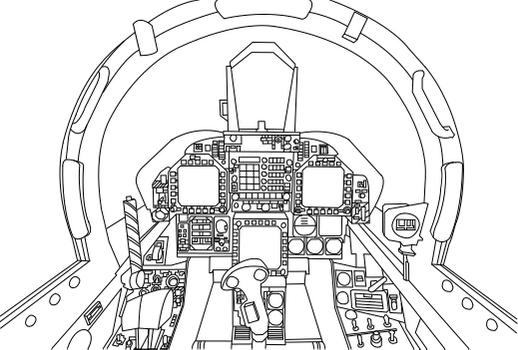 F-18A Super Hornet Cockpit Vector (Uncolored)