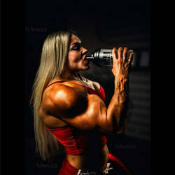 Fbb drinking the Massive Muscle plus drink