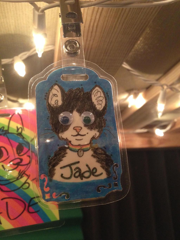 Custom Jade Googly Eyes badge by JadeWolfbane