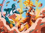 Mecha Cooler and Goku